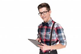 picture of nerd glasses  - Young nerd in glasses and checkered shirt with digital tablet pc isolated on white background - JPG