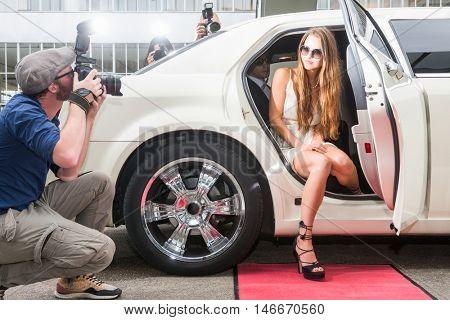 Female Celebrity Posing In Limousine