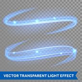 Vector blue magic glowing light swirl trail trace effect on transparent christmas background. Bokeh  poster