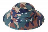 Camouflage Pith Helmet Isolated White Side View