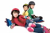 Children In Rollerblade Gear