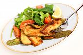 Fried Courgette Slices And Salad