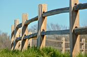 stock photo of split rail fence  - A low perspective shot of a split rail fence in the country - JPG
