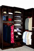 Display Of Wooden Upscale Closet Organizer