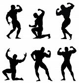pic of body builder  - Abstract vector illustration of body builder silhouettes - JPG