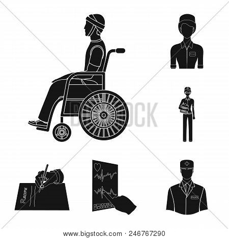 poster of Woman, Work, Clothes, Documents, Man, Doctor, Cardiogram, Leaf, Hand, Fingers, Medicine, Manipulatio