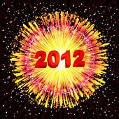 New Year's background with a flash of fireworks. Vector illustration.