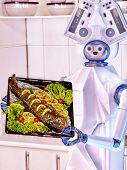 Robot domestic assistance seafood cook fish at kitchen and deliver food. Artificial intelligence hel poster
