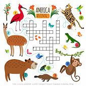 Animals Crossword Puzzle. Wild Life Animal Set Crossword Game With Herbivores And Predators Animals  poster