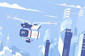 Unmanned Drone Courier Fly Delivers Parcel To City. Vector Illustration poster