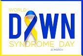 World Down Syndrome Day. Awareness Ribbon. Vector poster