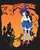 Young witch girl with black cat