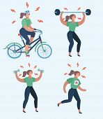 Vector Cartoon Illustration Of Hard Woman Workout. Annoyed Woman Making Perfect Body With The Differ poster