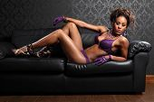 Leather And Lingerie Sexy African Glamour Model