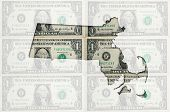Outline Map Of Massachusetts With Transparent American Dollar Banknotes In Background