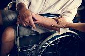 Disabled elderly on wheelchair