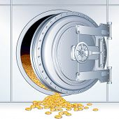 Open Vault Door with a Full of Money Storage, vector illustration