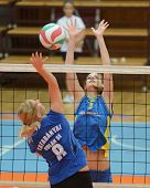 KAPOSVAR, HUNGARY - OCTOBER 2: Zsofia Harmath (R) in action at a Hungarian NB I. League volleyball g