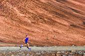 Run running fit athlete runner man doing sport exercise in nature. Ultra trail run athlete training  poster