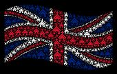 Waving Uk Official Flag On A Black Background. Vector Christian Church Icons Are Formed Into Geometr poster