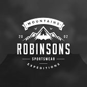 Mountains Logo Emblem Vector Illustration. Outdoor Adventure Expedition, Mountains Silhouette Shirt, poster