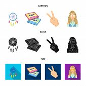 Amulet, Hippie Girl, Freedom Sign, Old Cassette.hippy Set Collection Icons In Cartoon, Black, Flat S poster