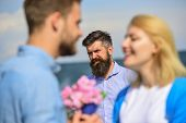 Couple In Love Happy Dating, Jealous Bearded Man Watching Wife Cheating Him With Lover. Lovers Meeti poster