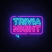 Trivia Night Announcement Neon Signboard Vector. Light Banner, Design Element, Night Neon Advensing. poster