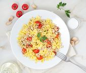 Farfalle Pasta With Tomatoes, Chiken Meat, Parsley On White Stone Background, Low-calorie Diet, The  poster