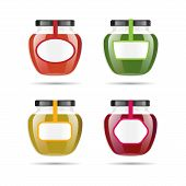 Realistic Transparent Glass Jar With Jam, Confiture Or Sauce. Preserving Packaging Set. Label And Lo poster