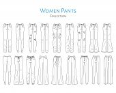 Women Ants Collection, Vector Sketch Illustration. Different Styles Of Jeans, Sweat Pants, Business  poster
