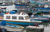 Fishing And House Boats In Cheung Chau Harbour. Hong Kong.