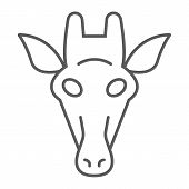 Giraffe Thin Line Icon, Animal And Zoo, Mammal Sign Vector Graphics, A Linear Pattern On A White Bac poster