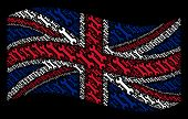 Waving Uk State Flag On A Black Background. Vector Wrench Design Elements Are Scattered Into Concept poster
