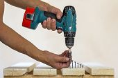 Hand Of A Worker Screws A Screw In A Wooden Board With A Cordless Screwdriver. Man Carpenter At Hand poster