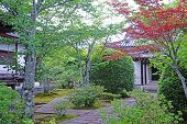 Outdoor Footpath, Green Plants And Pavilion In The Japanese Zen Garden poster