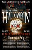 Постер, плакат: Хэллоуин Ужас партии Флаер с каплями крови над составом фон грандж и Джек черепа