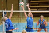 KAPOSVAR, HUNGARY - OCTOBER 2: Zsanett Pinter (2) in action at a Hungarian NB I. League volleyball g
