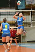 KAPOSVAR, HUNGARY - OCTOBER 2: ZsofiaHorvath (5) in action at a Hungarian NB I. League volleyball ga