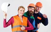 Builder, Architect, Engineer As Friendly Team. Woman And Men Holds Hard Hats. Best Team Concept. Tea poster