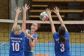 KAPOSVAR, HUNGARY - OCTOBER 2: Karmen Kovacs (C) in action at a Hungarian NB I. League volleyball ga