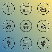 Meditation Icons Line Style Set With Religion, Meditation, Burning Candle Swastika Elements. Isolate poster