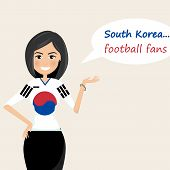 South Korea Football Fans.cheerful Soccer Fans, Sports Images.young Woman,pretty Girl Sign.happy Fan poster