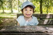 Surprised Children Smiling Joyful  - Baby Baseball Cap - Outdoor Active Naughty Happy Child . poster