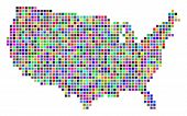 Multicolored Dot Usa Map. Vector Composition Of Usa Map Done Of Dot Elements. Vector Geographic Dott poster