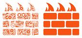 Brick Firewall Collage Of Service Tools. Vector Brick Firewall Icon Is Composed With Gearwheels, Spa poster
