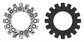 Gear Mosaic Of Workshop Tools. Vector Gear Icon Is Designed Of Gear Wheels, Wrenches And Other Servi poster