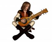 picture of minstrel  - Young Medieval minstrel sitting playing his lute - JPG