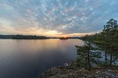 Dramatic Sunset In Summer On A Forest Lake poster