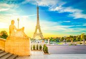 Eiffel Tower From Trocadero Garden At Sunrise, Paris, France, Retro Toned poster